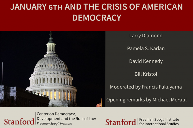 Flyer for event January 6th and the Crisis of American Democracy