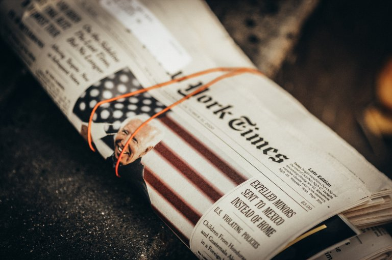 Picture of a copy of the New York Times from election week.