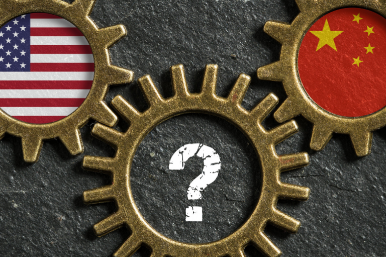 U.S. and China flags set in gears