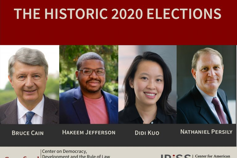 Flyer for the Historic 2020 Elections event featuring Bruce Cain, Hakeem Jefferson, Didi Kuo, and Nathaniel Persily.