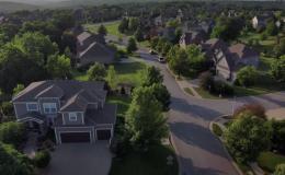 drone shot of a suburban neighborhood
