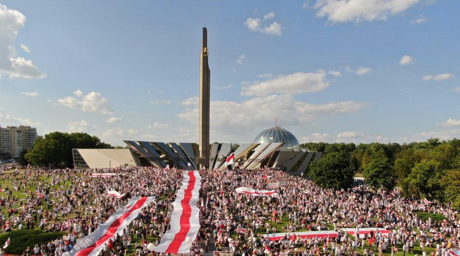 Protesters in Minsk, Belarus on 8/16/20
