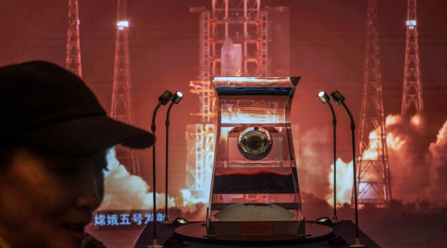 A case holding lunar rock and debris collected from the Moon by China's space program that is part of a display at the National Museum of China is seen on March 2, 2021 in Beijing,