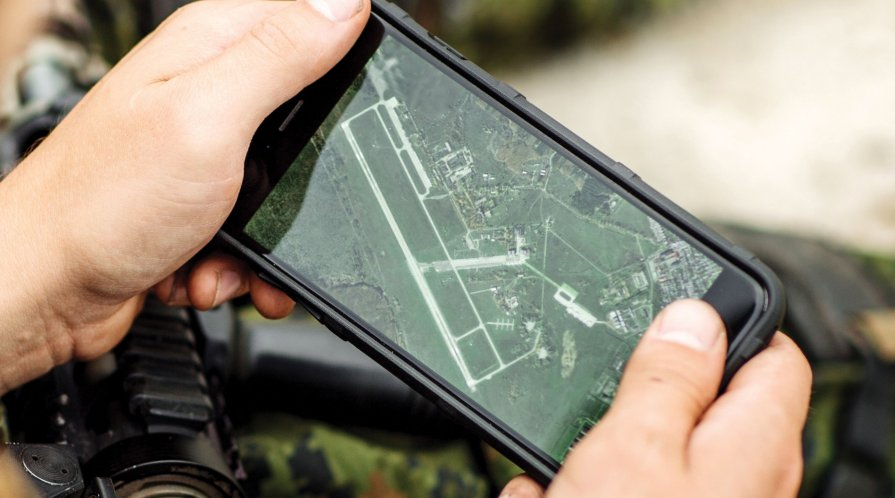 Satellite image on a smart phone