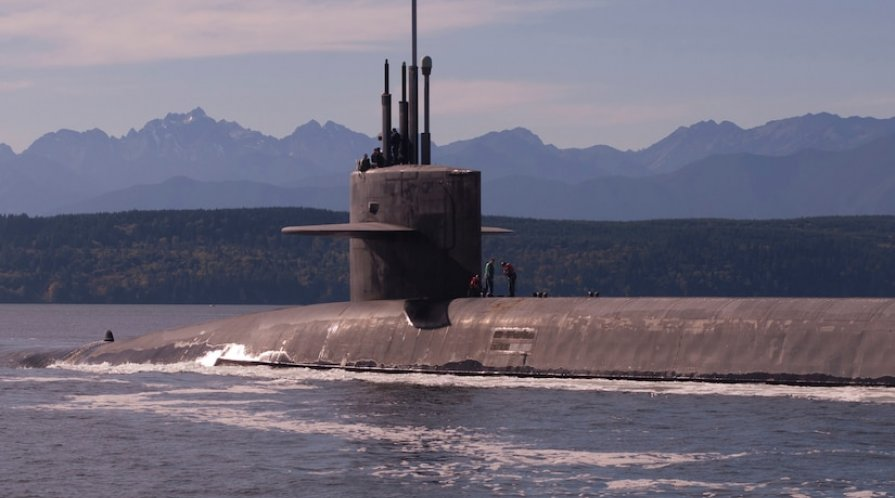 Submarine half submerged