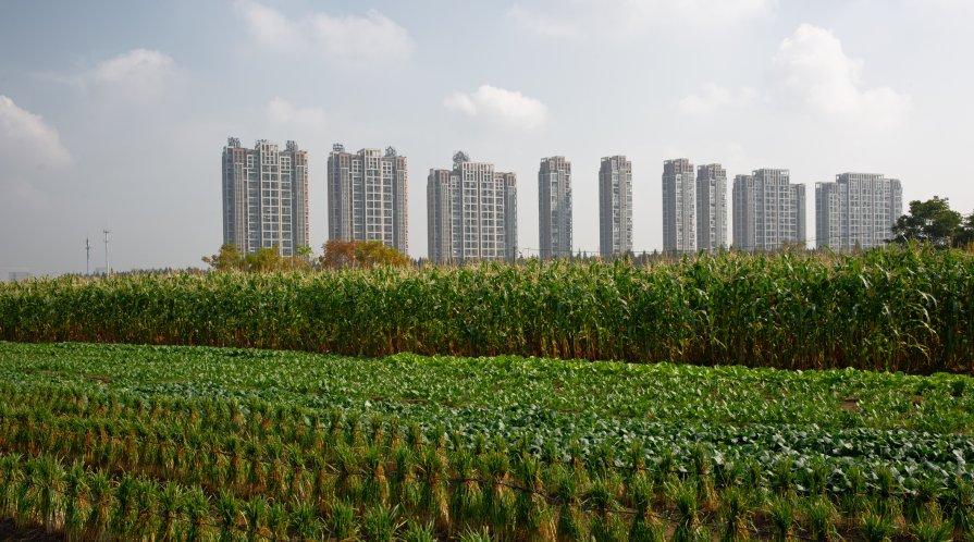 Sky rises behind farmland in Hangzhou, China.