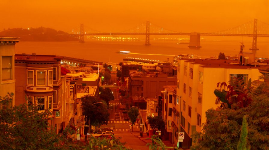 Orange smokey skies over San Francisco