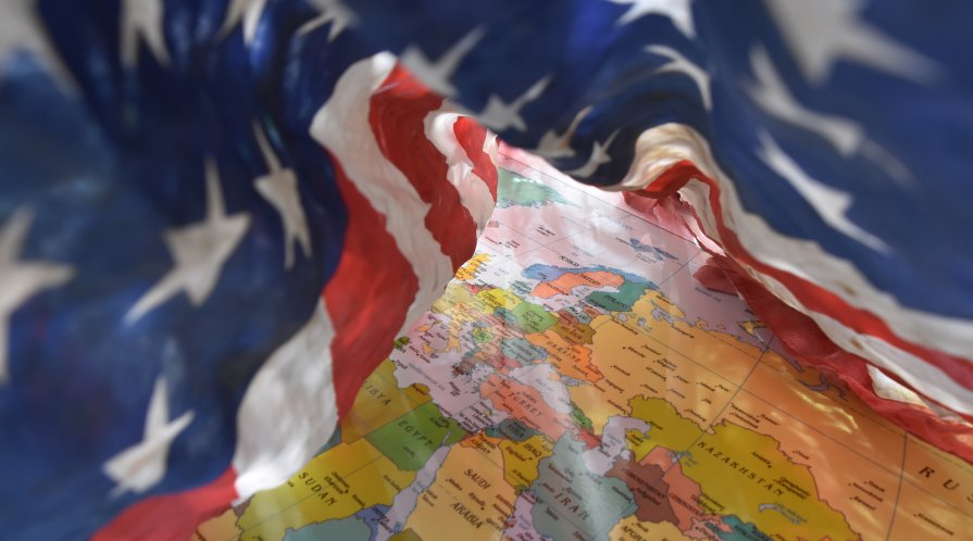 Image of map and American flag