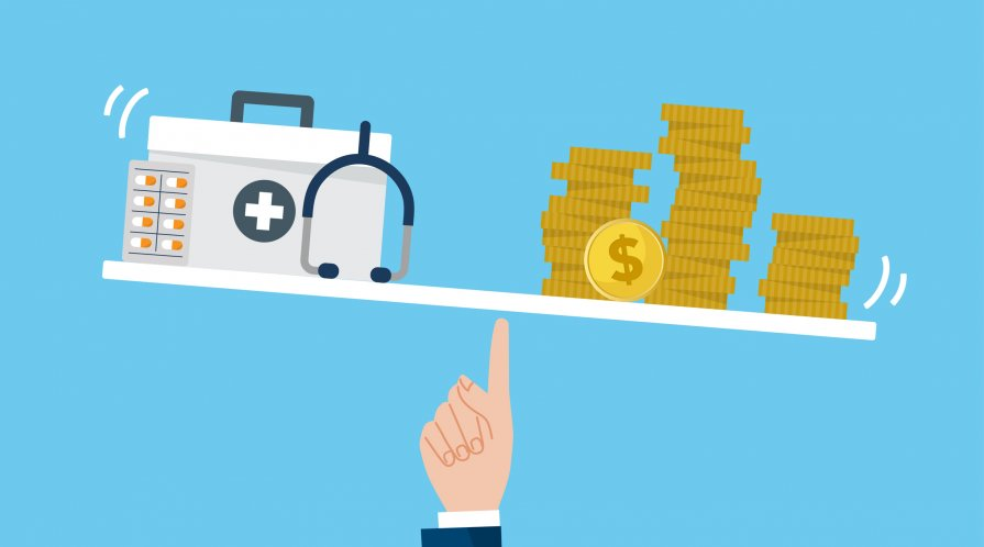 An illustration of balancing health-care costs