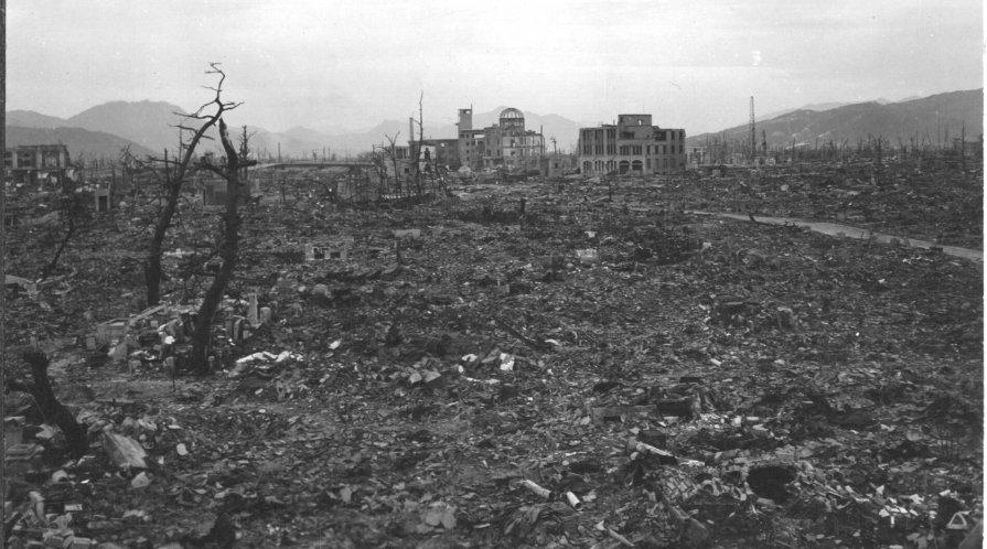 Hiroshima destroyed after atomic bombing.