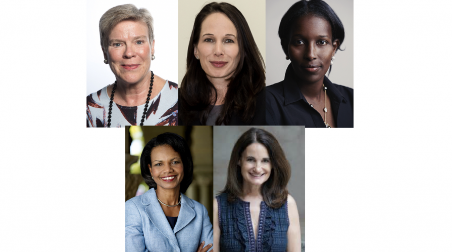 Gottemoeller (top row left), Zegart (top row center), Hirsi Ali (top row right), Rice (bottom row left) and Economy (bottom row right)