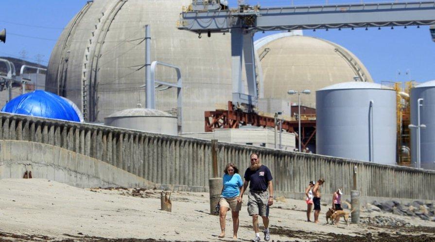 The defunct San Onofre nuclear power plant near San Clemente, California