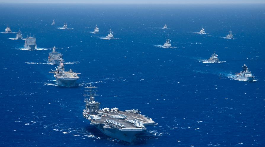 Battleships patrolling in the open ocean.