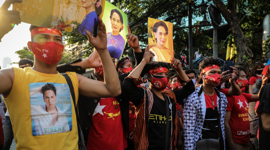 Protesters opposing the February 1 coup in Myanmar