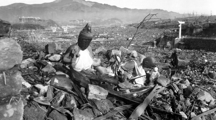 Religious artifacts in the city of Nagasaki lay destroyed after the dropping of the atomic bomb on the city, September 1945