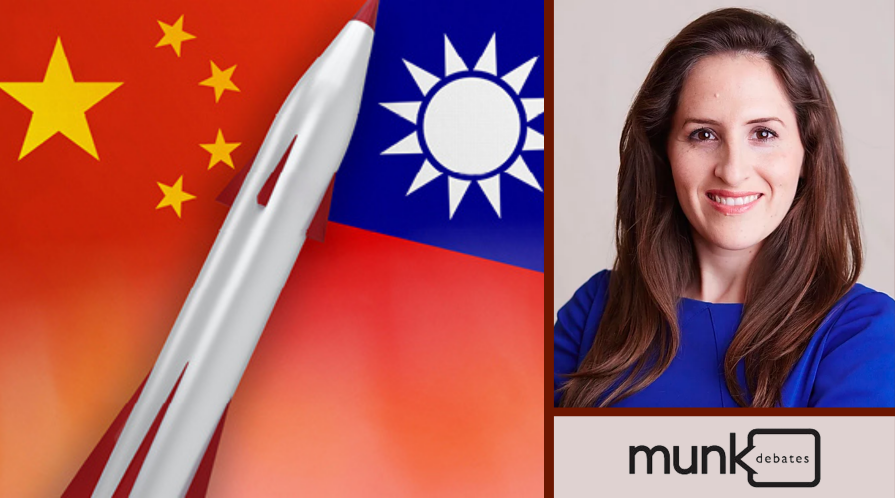 [Left] Graphic of missile, Taiwan flag, and China flag; [Right] Oriana Skylar Mastro