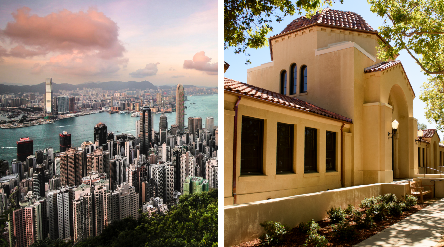 [Left] Hong Kong skyline; [Right] Encina Hall, Stanford