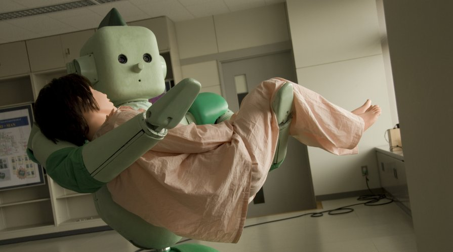 A Japanese robot prototype lifts a dummy patient