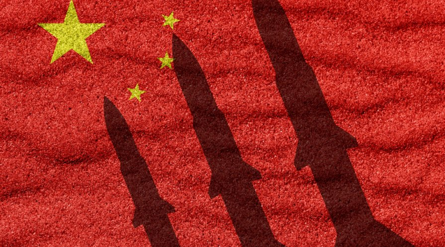 China flag and rocket in military conflict