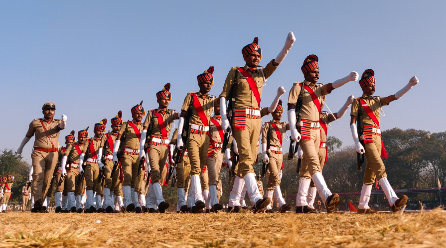 A regiment of the Indian Army practices in dress uniform for Republic Day