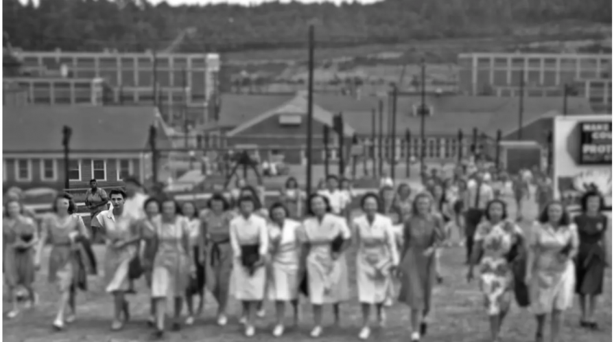 "A 1945 photo of the ""Calutron Girls"" of the Y-12 Nuclear Security Complex at Oak Ridge, Tennessee includes only one Black employee, despite the instrumental role of Black women at the facility. The image has been altered to bring focus to her"