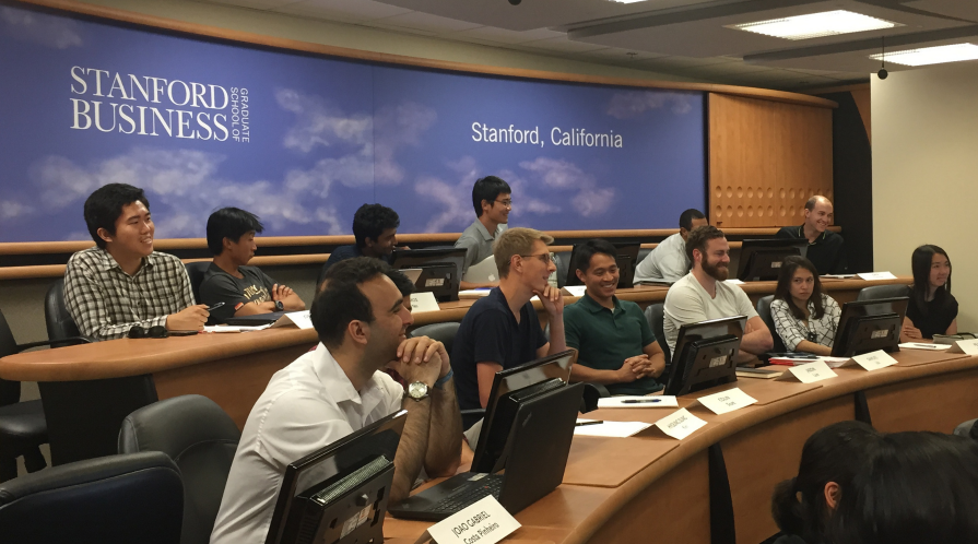 Stanford students participate in class.