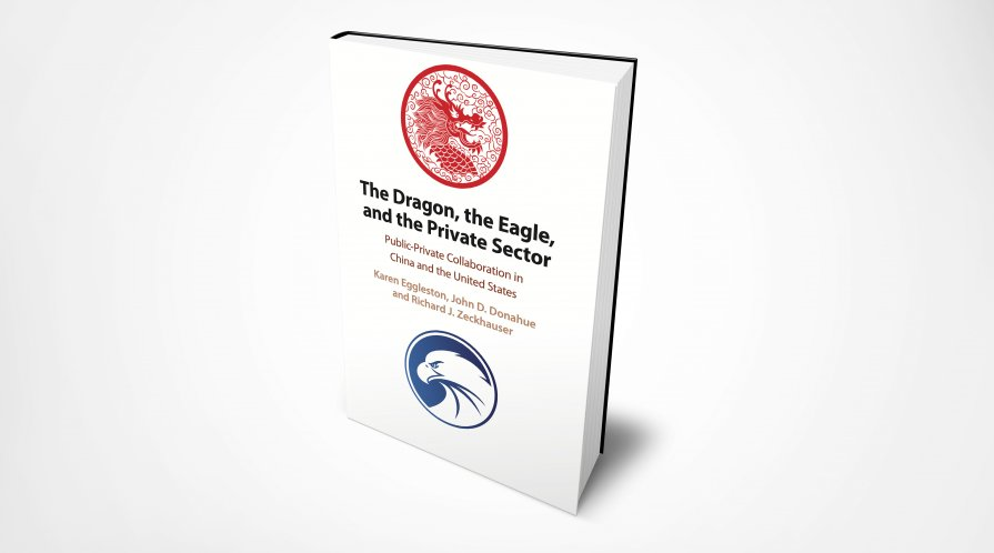 "Cover of book ""The Dragon, the Eagle, and the Private Sector"" with an image of a red dragon and a blue eagle."