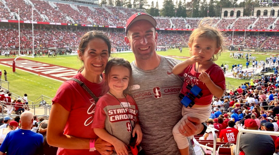 Brian Slamkowski with his wife and two daughters