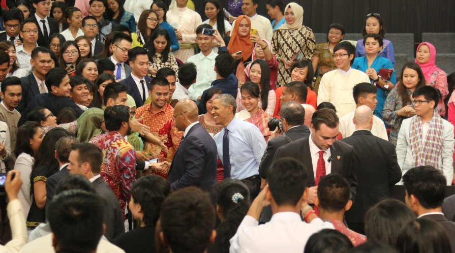 Barack Obama greets attendants at the Young Southeast Asian Leaders Initiave (YSEALI) Town Hall event at Taylor's University Lakeside Campus on November 22, 2015.