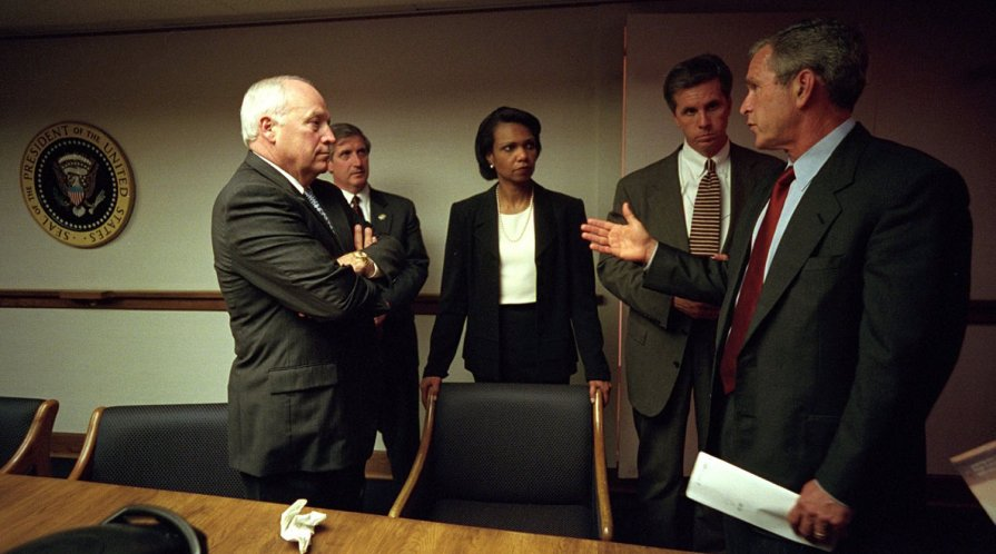 Condoleezza Rice with President George W. Bush, Vice President Dick Cheney, Chief of Staff Andy Card and Special Agent Carl Truscott of the U.S. Secret Service in the Presidential Emergency Operations Center of the White House.