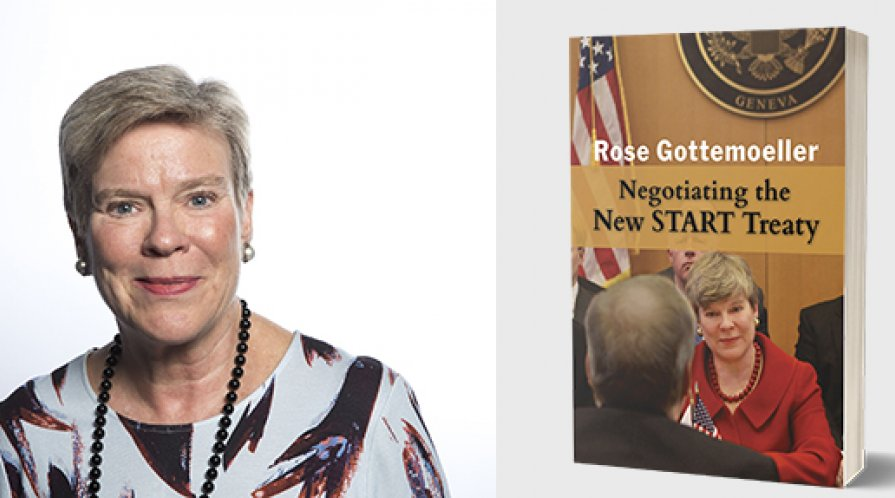 Rose Gottemoeller next to the book cover for Negotiating the New START Treaty
