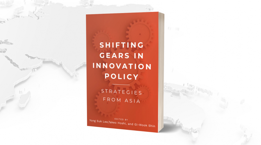 Cover of the book 'Shifting Gears in Innovation Policy' on the background of an embossed map of Asia.