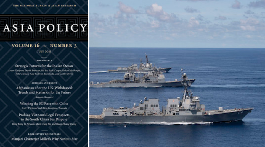 Cover of issue 16 of the journal Asia Policy and the Nimitz Carrier sailing in the Indian Ocean