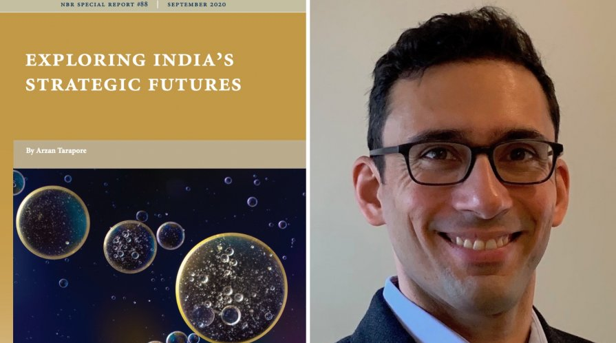 """Portrait of Arxan Tarapore and the cover of his NBR report, """"India's Strategic Futures"""""""