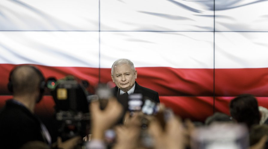 WARSAW, POLAND - OCTOBER 13: Jaroslaw Kaczynski, leader of the governing, right-wing Law and Justice political party (PiS), speaks to supporters following the announcement of first results in Polish parliamentary elections on October 13, 2019 in Warsaw, P