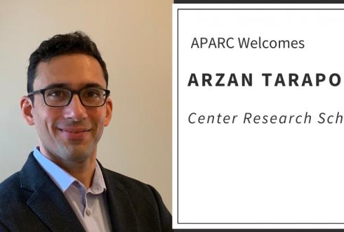 "Portrait of Arzan Tarapore next to text ""APARC Welcomes Arzan Tarapore, Center Research Scholar"""