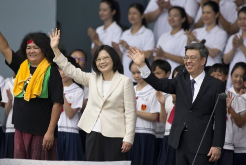 Taiwan President Tsai Ing-wen (Center) and Vice President Chen Chien-jen (L) wave to the crowd on May 20, 2016 in Taipei, Taiwan.