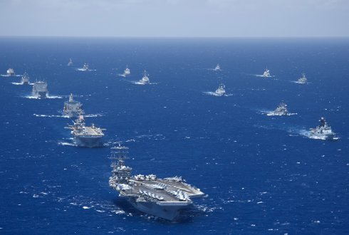 """""""Ships and submarines participating in the Rim of the Pacific (RIMPAC) 2012 exercise are underway in close formation during the Rim of the Pacific (RIMPAC) 2012 exercise."""""""