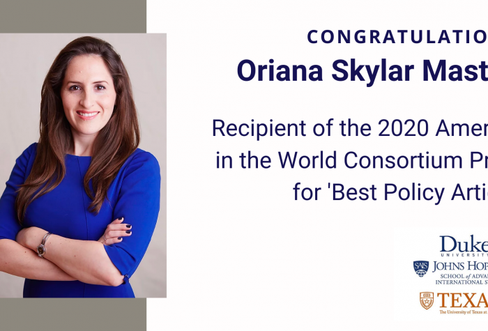 [left: image] Oriana Skylar Mastro, [right: text] Congratulations, Oriana Skylar Mastro, Recipient of the 2020 America in the World Consortium Prize for 'Best Policy Article' from Duke University, Johns Hopkins SAIS, and Texas University at Austin