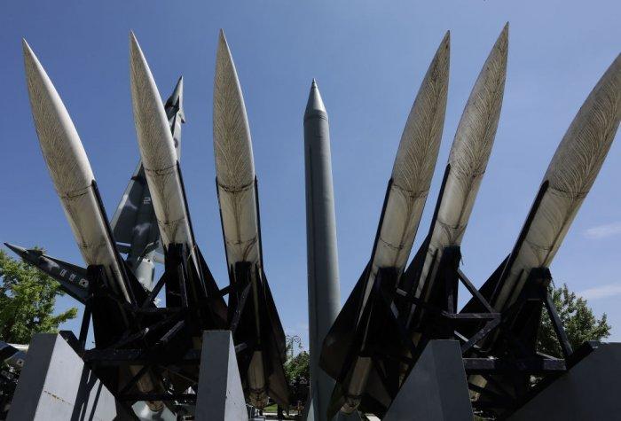 A North Korea Scud-B missile display at the Korea War Memorial Museum on August 26, 2017 in Seoul, South Korea