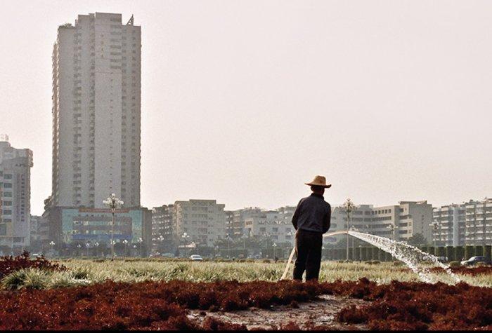 Farmer watering fields in front of a cityscape.