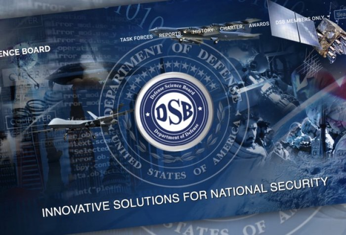Blue background with Defense Science Board white lettering