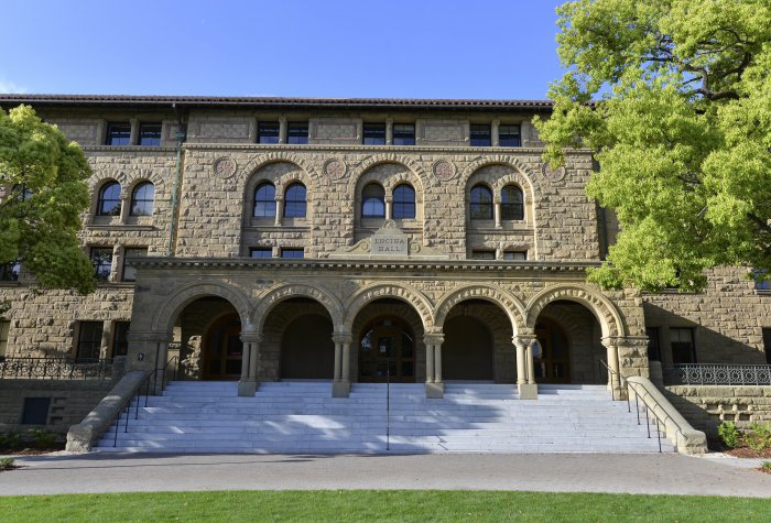 A look at the front of Encina Hall, Stanford