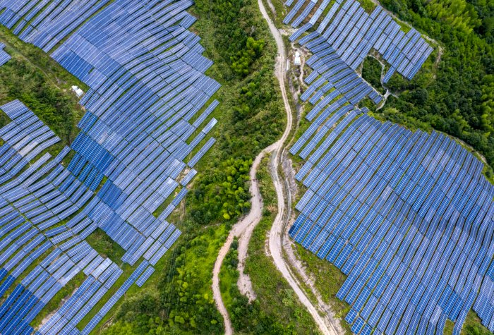 Solar panels in a field in China.