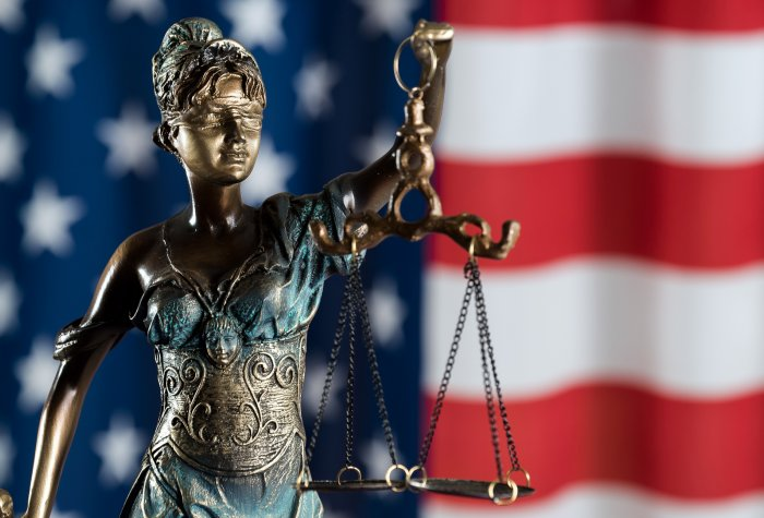Lady Justice and the American Flag