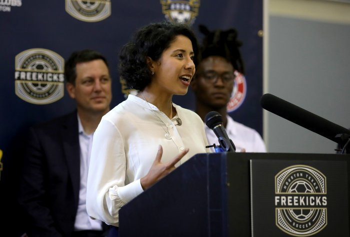 Lina Hidalgo speaks at a community event in Houston, Texas