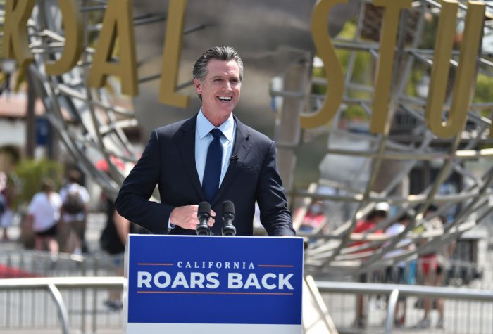 California Gov. Gavin Newsom celebrates the state's reopening after COVID-19 pandemic..