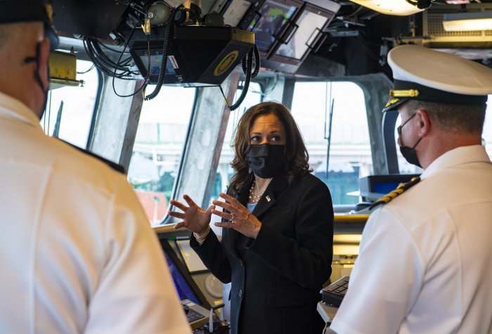 SINGAPORE (Aug. 23, 2021) Vice President Kamala Harris visits combat ship USS Tulsa, part of a deployment in the U.S. 7th Fleet area of operation in support of a free and open Indo-Pacific region.