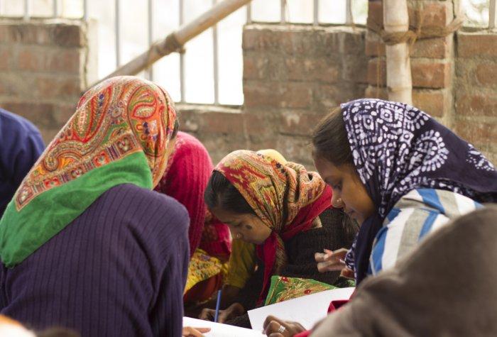 Children study at an Indian village school