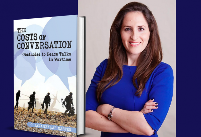 Portrait of Oriana Skylar Mastro and a 3D cover of her book, 'The Costs of Conversation: Obstacles to Peace Talks in Wartime'
